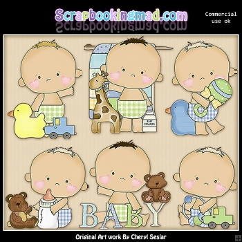 Sweet Baby Boy ClipArt Graphic Collection
