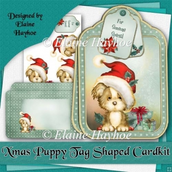 Xmas Puppy Tag Shaped Card Kit