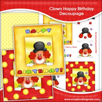 Clown Happy Birthday Decoupage Download
