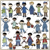 Little Buddy Boys ClipArt Graphic Collection