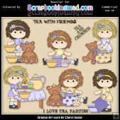 RESALE ART WORK Charlottes Tea Party ClipArt Collection