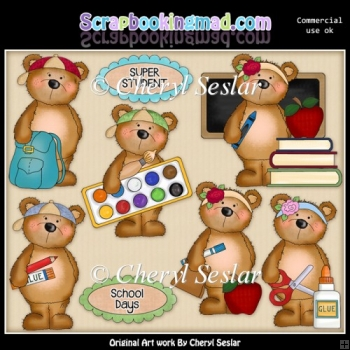 Fuzzy Fozzy School Days ClipArt Collection
