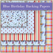 5 Blue Birthday Backing Papers Download (C53)
