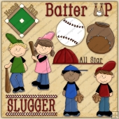 Baseball Kids ClipArt Graphic Collection