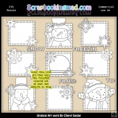 Let It Snow Squares Colour Your Own ClipArt RESALE SET