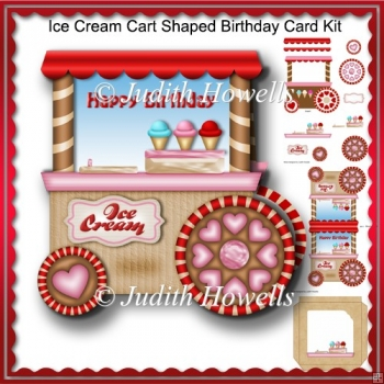 Ice Cream Cart Shaped Birthday Card Kit