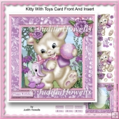 Kitty With Toys Card Front And Insert