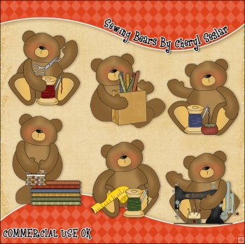 Sewing Bears ClipArt Graphic Collection