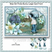 Blue Girl Finds Bunny Large Card Front