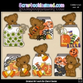 Tibbles Halloween Jars ClipArt Collection