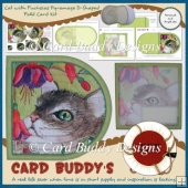 Cat with Fuchsias Pyramage D-Shaped Fold Card Kit
