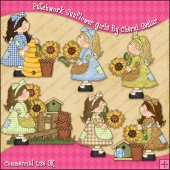 Patchwork Sunflower Girls ClipArt Graphic Collection