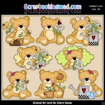 Sweet Stuffins Flower Bears ClipArt Collection