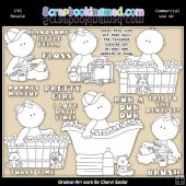 Little Peanuts Rub A Dub Dub Colour Your Own ClipArt RESALE SET