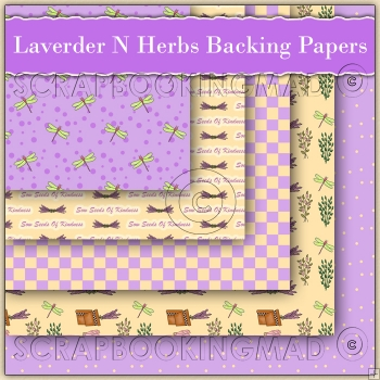 5 Lavender n Herbs Backing Papers Download (C118)