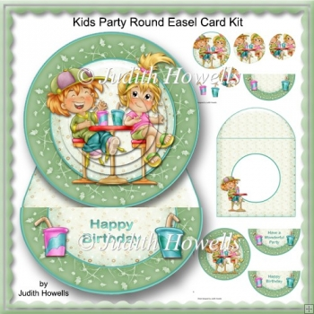 Kids Party Round Easel Card Kit