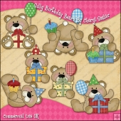 Silly Birthday Bears ClipArt Graphic Collection