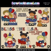 Americana Birthday Girls ClipArt Graphic Collection