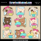 Doggy Squares Cupcakes ClipArt Graphic Collection