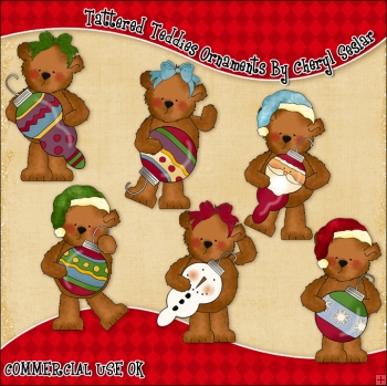 Tattered Teddies Ornaments ClipArt Graphic Collection