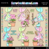 Bonet Girl How Does Your Grow ClipArt Graphic Collection