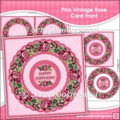 Red Vintage Rose Card Front