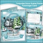Turquoise Snow Scene Frame Pyramage Card