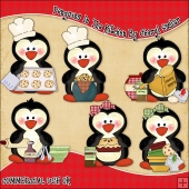 Penguins In The Kitchen ClipArt Graphic Collection
