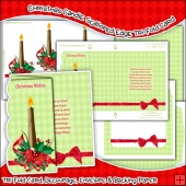 Christmas Candle JPEG Scalloped Edge Tri-Fold Card Download