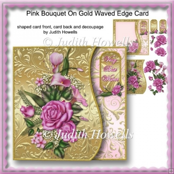 Pink Bouquet On Gold Waved Edge Card