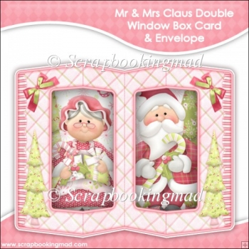 Mr & Mrs Claus Double Window Box Card and Envelope