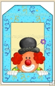 Blue Clown Gift Tag - REF_T638
