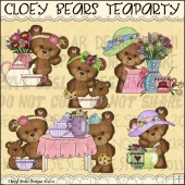 Cloey Bear Teaparty ClipArt Graphic Collection