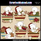 Polar Bear Christmas Bowls ClipArt Collection