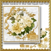 Golden Gardenia On Silver Satin Square Card Front