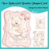 New Baby Girl Bracket Shaped Card