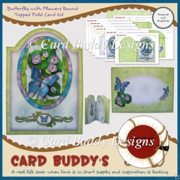 Butterfly with Flowers Round Topped Fold Card Kit
