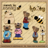 Honey Bears ClipArt Graphic Collection