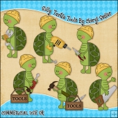 Silly Turtles Tools ClipArt Graphic Collection