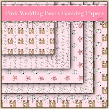 5 Pink Wedding Bears Backing Papers Download (C78)