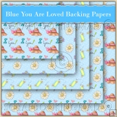 5 Blue You Are Loved Backing Papers Download (C134)