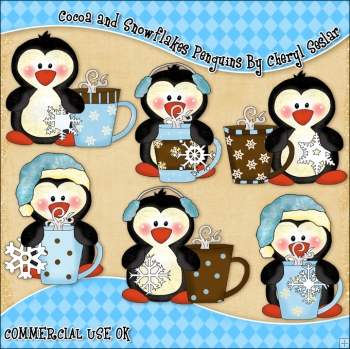 Cocoa And Snowflakes Penguins ClipArt Graphic Collection