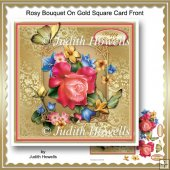 Rosy Bouquet On Gold Square Card Front