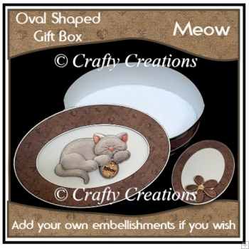 Oval Shaped Gift Box - Meow