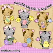 Sweet Little Kitty Easter ClipArt Graphic Collection