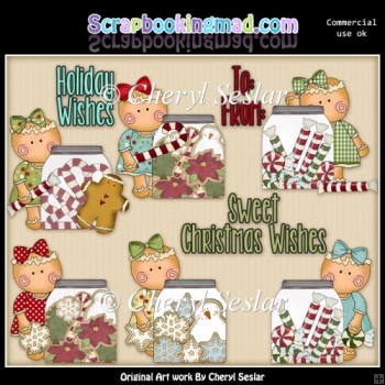 Miss Gingers Christmas Jars ClipArt Collection