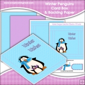 Winter penguins PDF Decoupage Card Box & Backing Paper