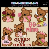 Cuddle Bear Queen Of Hearts ClipArt Collection