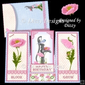 Pink Poppies Centre Stepper Card