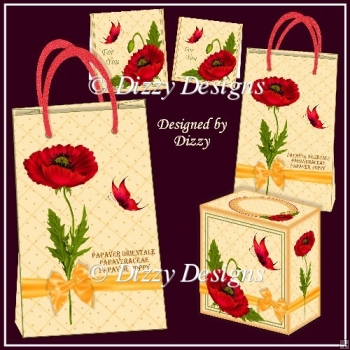 Poppy Gift Bags with Gift Cards and freebie Gift Box